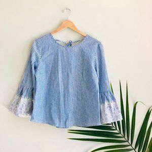 KONTROL Contemporary Striped Bell Sleeve Blouse M
